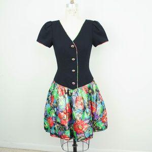 Vintage 80s Dress Floral Metallic Drop Waist